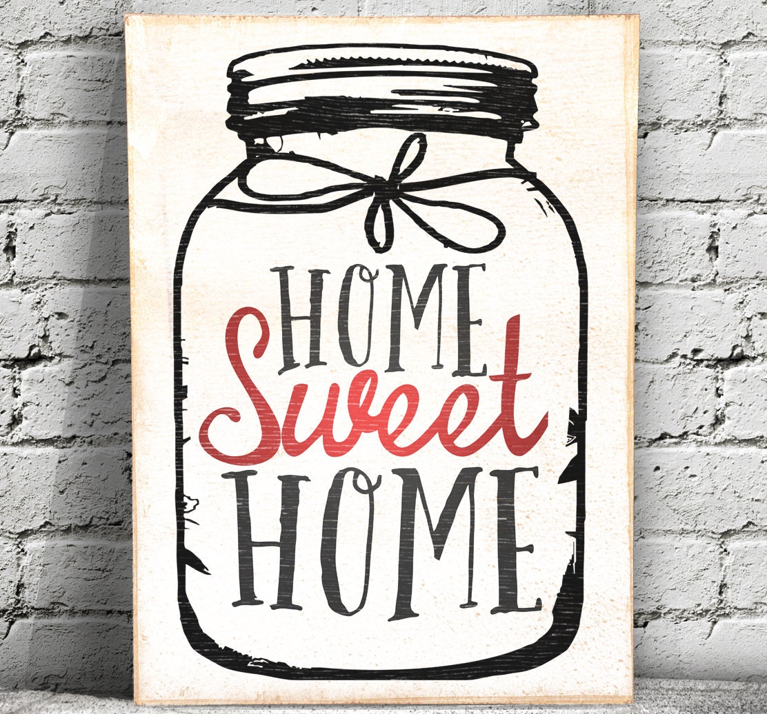 Home sweet home wood sign mason jar wall art etsy Home sweet home wall decor