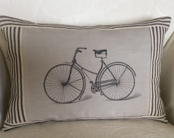 Vintage Bicycle Pillow Cover, French Graphic, French Art, Sofa Cushion, Toss Pillow, French Accent Decor, Ticking Stripe Pillow