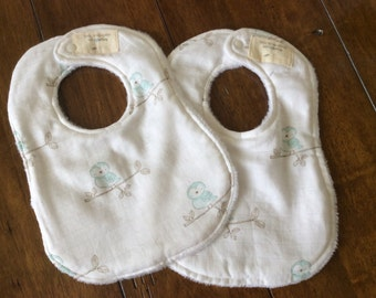 White Baby Bib, Owl Bib, Chenile Bib,Soft Teal Bib, Set of Baby Bib, Set of Two Baby Bib