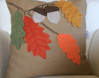 Fall Leaves Pillow, Acorn Pillow, Thanksgiving Decor Pillow, Applique Pillow, Tree Branch Pillow, Designer Pillow, Fall 2015 HGTV Pillow