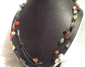 Multi-strand, mixed gemstone necklace