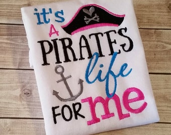 Embroidery design 5x7 It's a PIRATES life for me, love the sea, anchor, pirate embroidery, cruise embroidery, summer embroidery, pirate
