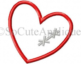Embroidery design 4x4 heart stitches applique, socuteappliques, broken heart embroidery applique, CHD awareness embroidery applique