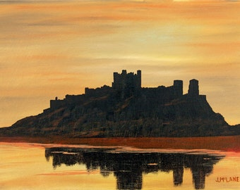 Limited Edition Fine Art Giclee Print Bamburgh Castle, England