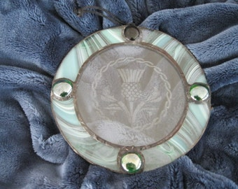 Handmade Celtic Stained Glass Suncatcher with Scottish Thistle Engraving