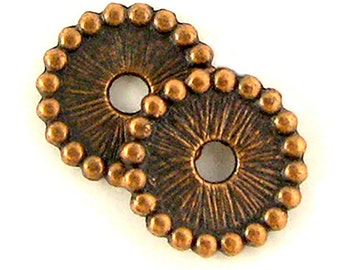 Button 1005 antique copper plated 11.5mm fluted 250 pieces