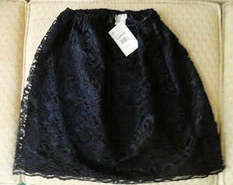 Vintage Black Floral Lace w/lining Skirt & Tank Top by Delicates, Juniors L, Above Knee