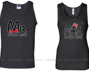 Couple Tank Tops - Mr. & Mrs. Always Right - His and Her Matching Love Tank Tops for Couples
