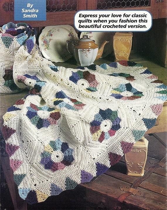 Crochet Pattern Dresden Plate Afghan Blanket Throw Home Decor