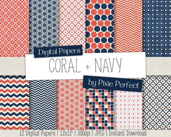Coral & Navy Blue Digital Paper - CORAL AND NAVY Paper ...