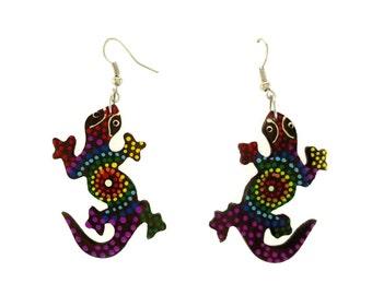 Earrings: Painted Wood Cicak (Gecko) Dangle Earrings