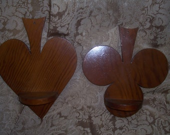 Vintage Wooden Spade and Club shelves