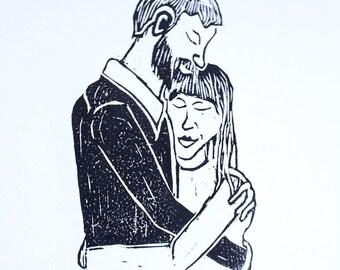 The Hug Woodblock Print