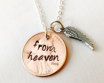 From Heaven Stamped Penny Hand Stamped Penny Necklace -Personalized Penny Necklace- A Penny From Heaven