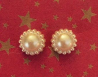 SALE white faux pearl stud earrings weddings brides jewelry bridesmaid gifts party favors shower favors Mother's Day