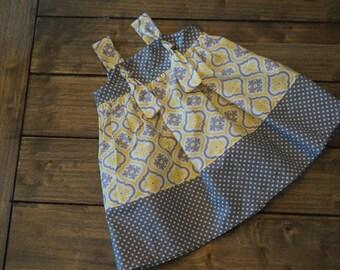 Toddler Girls Sundress Yellow and Grey, Modern Print Girls Dress, Girls knot dress