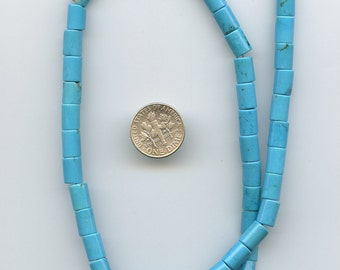 "Blue Chalk Turquoise, Smooth 8x6mm Tube Gemstone BEADS, full 16"" strand, DESTASH ks126"
