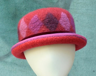 Red Bowler Hat - Red Bowler Hat with Diamond Pattern - Hand Felted Bowler Hat - Wool Bowler Hat