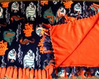 Tropical fish fleece tie blanket, reversible  blanket