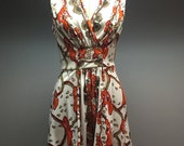 1970s Sears Roebuck Orange Floral Marsha Brady Flower Child Vintage 1960s Smocked Sun Dress SMall