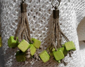 Eaarings, ecofriendly, eco friendly, organic jewelry, wooden beads, jewelry from flax, Holzohrringe, Ohrringe aus Leinen, Bio-Schmuck