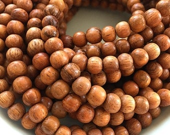 Bayong Wood Beads, Wooden Mala Beads, Round Brown Wooden Beads, Natural Bayong Beads, Round Wooden Beads, 7mm to 8mm - 50 beads (W8-05)
