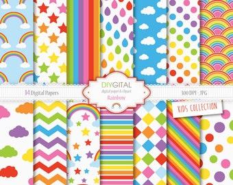 Rainbow Digital Paper Set - 14 Digital Papers with rainbow patterns, chevron, stripes, clouds, stars - For scrapbooking, graphics, cards
