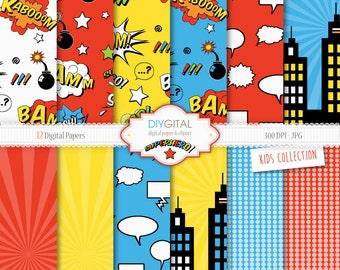 Superhero Digital Paper Set- 12 Super Hero Digital Papers with action words, comic sound effects, buildings-For scrapbooking, graphics,cards