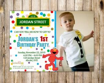 Sesame Street Birthday Party Invitation, Rainbow Confetti Elmo Party Invite, Sesame Street Boys Girls 1st 2nd Birthday Party, Digital Photo