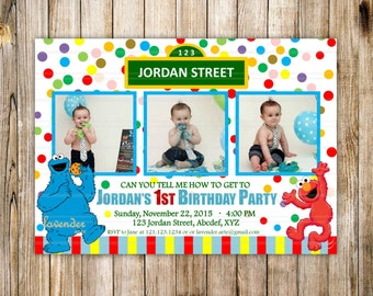 SESAME STREET 1st Birthday Invitation, Sesame Street First Birthday, Can You Tell Me How, Elmo 1st Birthday, Cookie Monster, Photo Invite
