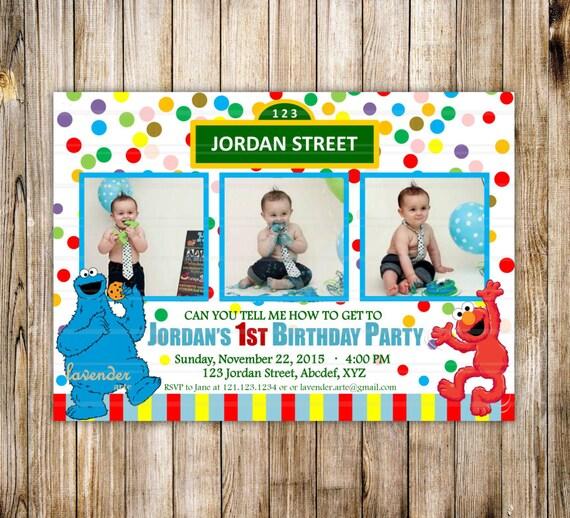 sesame street 1st 2nd birthday party invitation rainbow, Party invitations