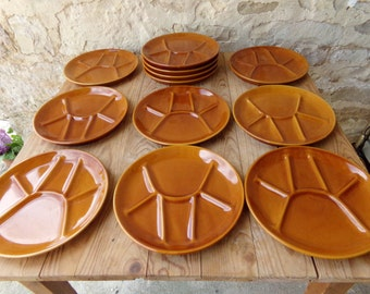 3 French vintage fondue plates from the prestigious makers St Amand in burnt orange from 1970s.