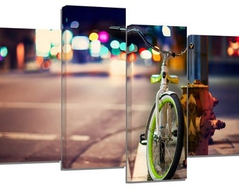 Urban bicycle photography / set of 4 canvas prints /32x20