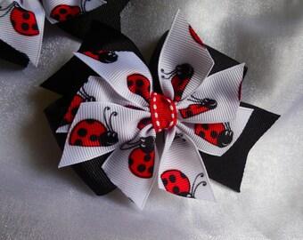 Lady bug hairbows