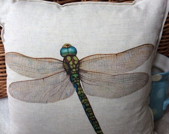 Handmade cushion cover Shropshire Artist's Dragonfly design cotton linen mix cover only