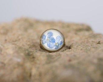 VERGISSMEINNICHT - Ring with real Forget-me-nots, Flower Jewelry, Real Dried Blossoms in Resin, Pressed Flower Jewelry, Resin Jewelry