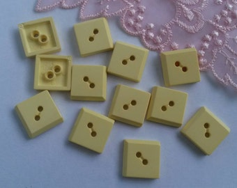 6 Pieces 15mm Yellow Sewing Buttons Plastic Square Button