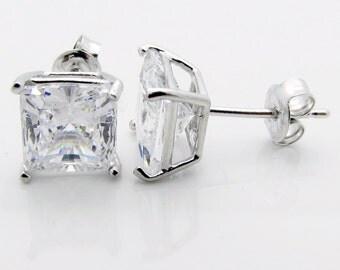 Sterling Silver CZ 3Ct Tw 1.5Ct Each Side Princess Basket Set Stud Earrings