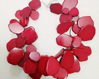 Red Turquoise Irregular Stone Necklace Strands Stone Cluster Bib Statement Necklace