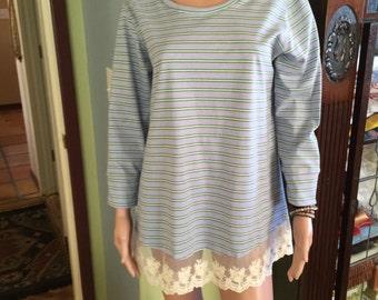 Lavender Stripe Jersey Knit Tunic / Sleep Shirt with Lace Trim