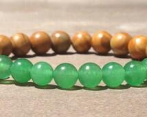 Green Jade and Yellow Jasper Healing Crystal Mala Bracelet
