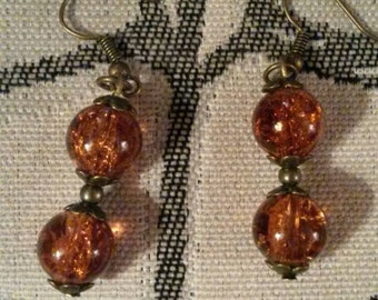 Handmade antique bronze amber glass bead earrings