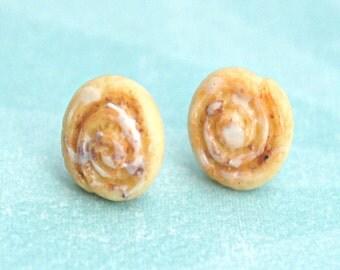 cinnamon rolls earrings-miniature food jewelry, food earrings, cinnamon buns