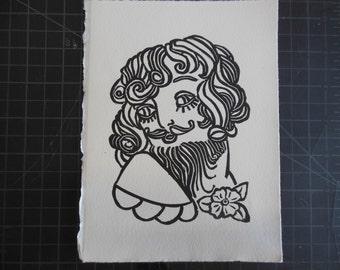 Bearded Lady Linoleum Cut Print Circus Freak Sailor Jerry