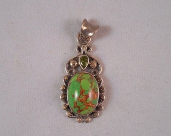 Green Turquoise Pendant with Peridot #69