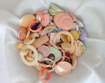 Jewelry Pieces Pastel Colors Destash 1980's Vintage Earring Pieces