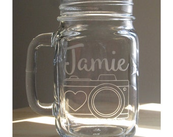 Personalized Heart Camera Mason Jar with Handle- Photographer Gift