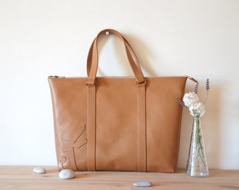 Large Leather Tote Bag, Tan Leather Large Tote, Leather Purse, Leather Shoulder Bag, Tan Leather Handbag, Light Brown Leather Tote Bag, Gift