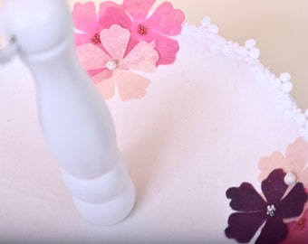 Handmade wooden cake stand with organza flower design