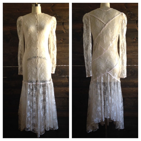 Vintage gatsby lace wedding dress ivory mermaid trumpet for Daisy lace wedding dress